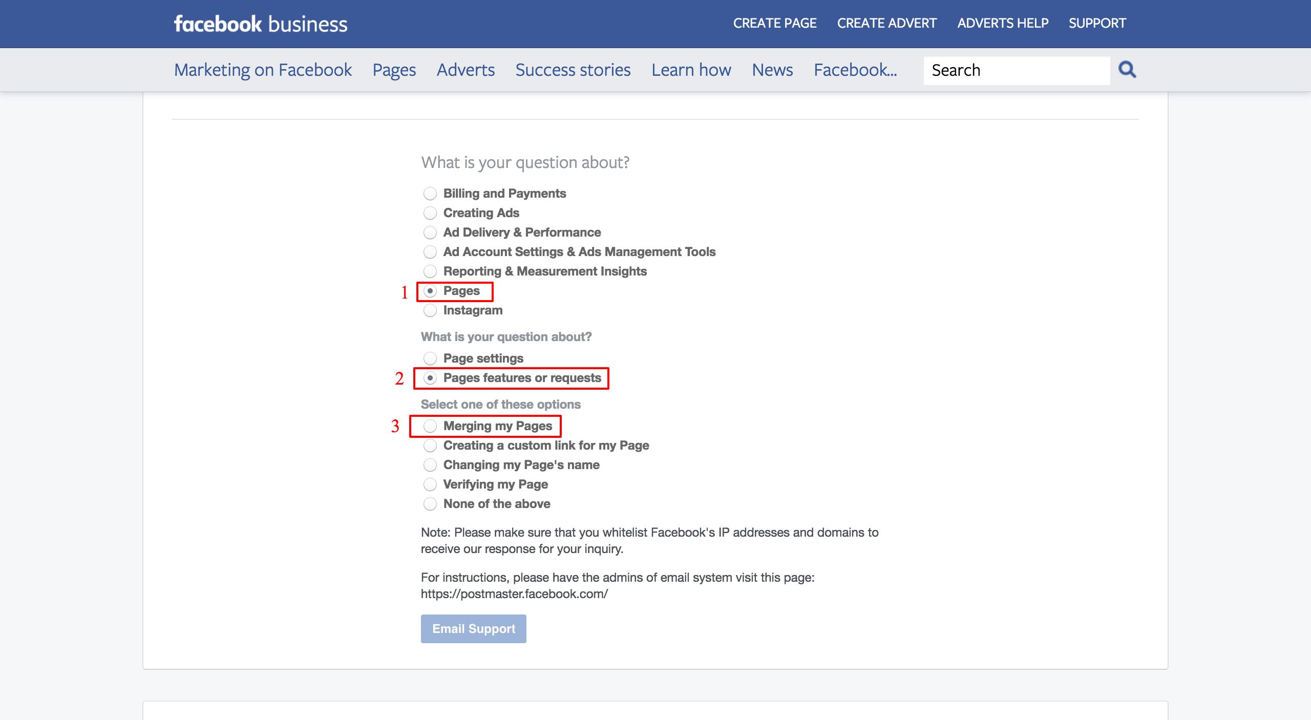 מיזוג דפים עסקיים בפייסבוק