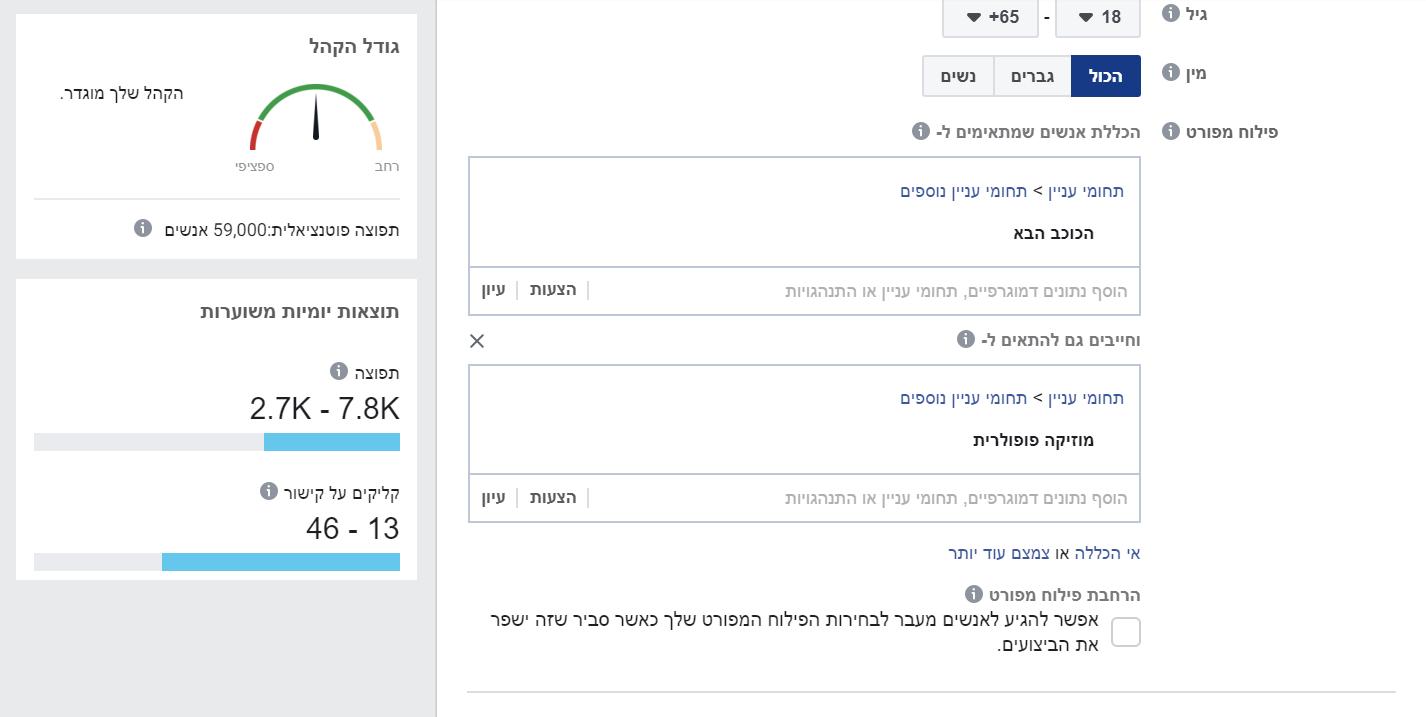 פילוח קהל יעד בהקמת קמפיין בפייסבוק